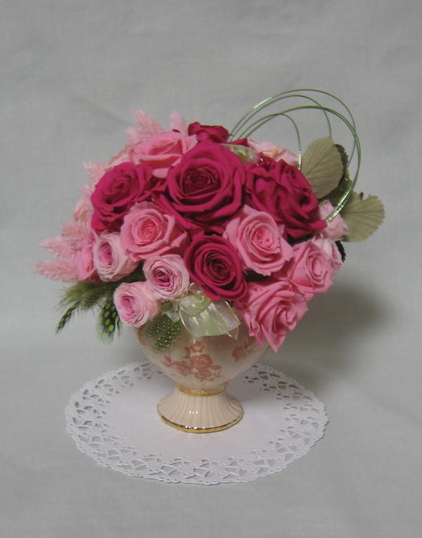 プリザーブドアレンジメント ピンクバラ